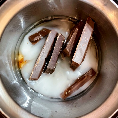 chocolate melting in coconut oil and plant-based milk